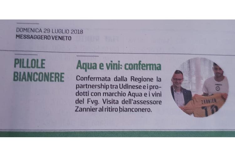Accordo Udinese e prodotti marchio AQUA